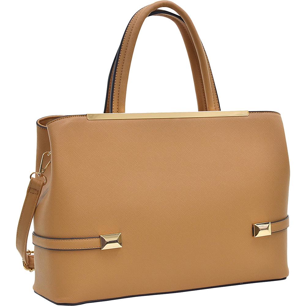 Dasein Framed Satchel Bag with Shoulder Strap Tan - Dasein Manmade Handbags - Handbags, Manmade Handbags