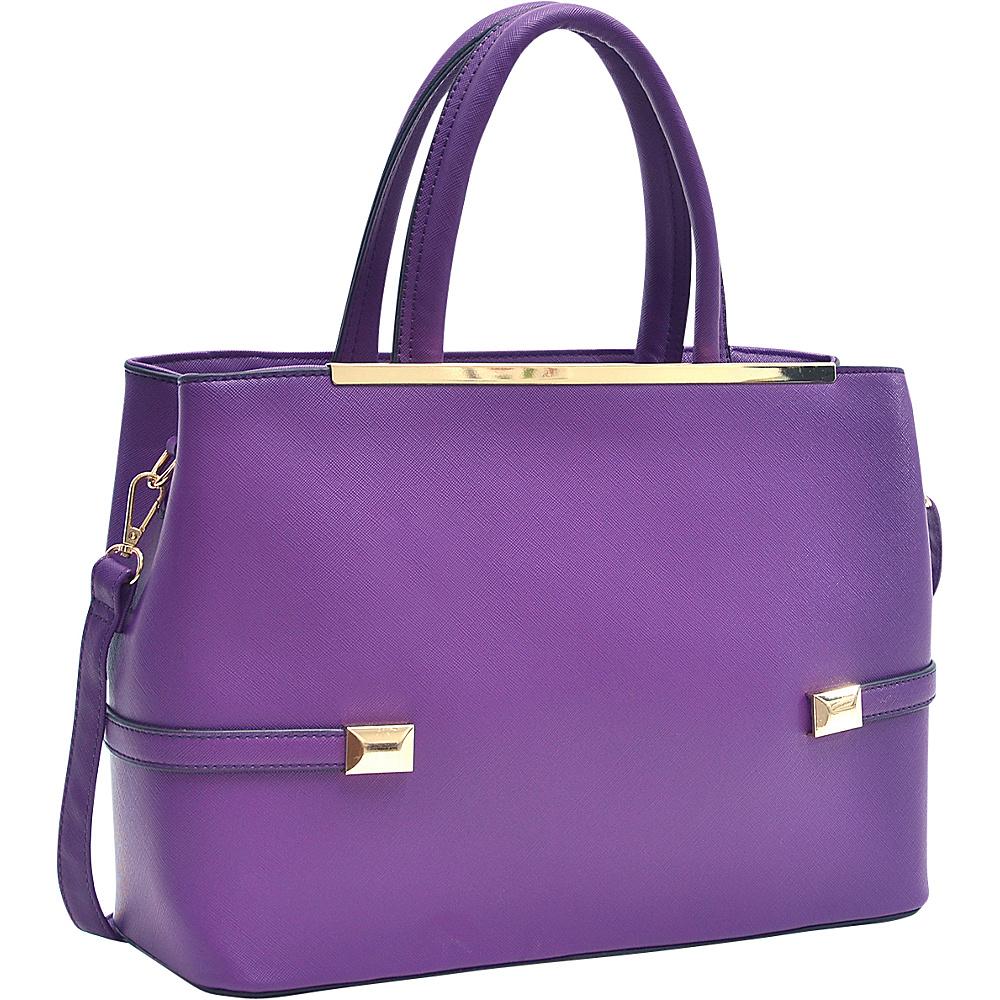 Dasein Framed Satchel Bag with Shoulder Strap Purple - Dasein Manmade Handbags - Handbags, Manmade Handbags