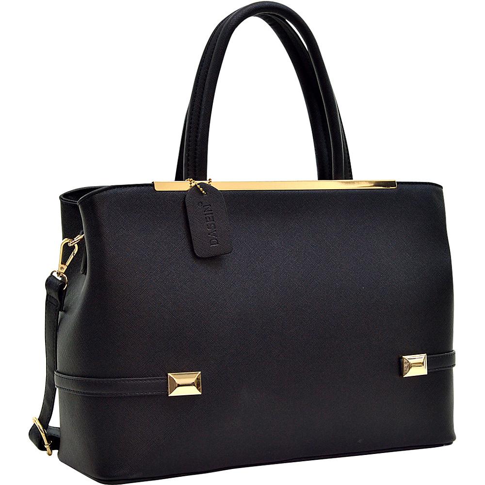 Dasein Framed Satchel Bag with Shoulder Strap Black - Dasein Manmade Handbags - Handbags, Manmade Handbags