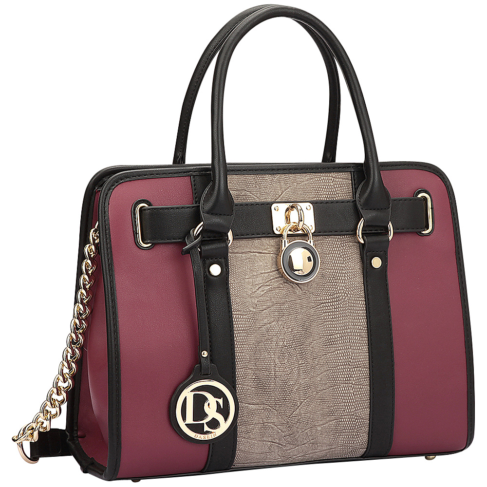 Dasein Medium Two Tone Snake Skin Satchel with Belted Lock Deco Stone - Dasein Gym Bags - Sports, Gym Bags