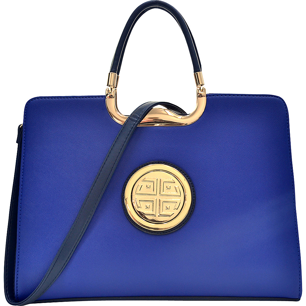 Dasein Rolled Handle Emblem Briefcase Satchel with Removable Shoulder Strap Royal Blue - Dasein Manmade Handbags - Handbags, Manmade Handbags