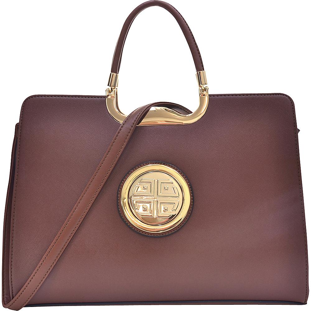 Dasein Rolled Handle Emblem Briefcase Satchel with Removable Shoulder Strap Brown - Dasein Manmade Handbags - Handbags, Manmade Handbags