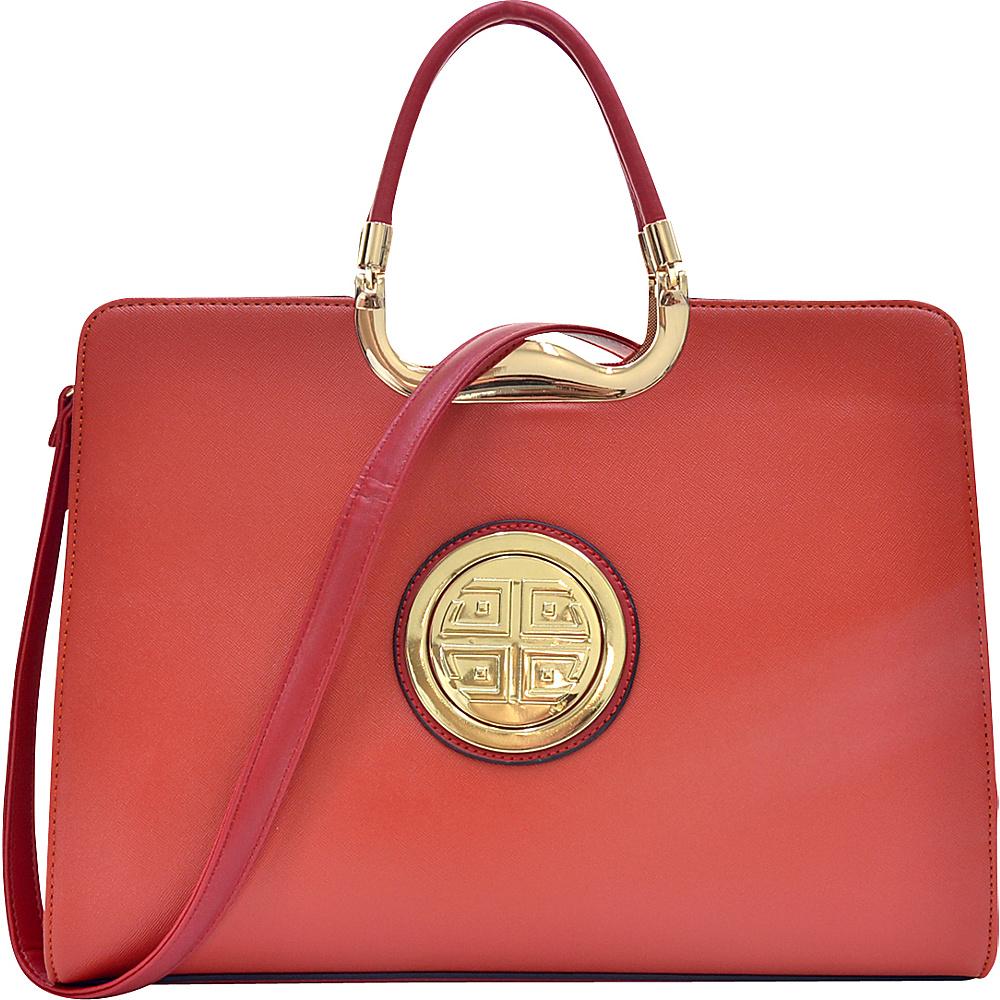 Dasein Rolled Handle Emblem Briefcase Satchel with Removable Shoulder Strap Orange - Dasein Manmade Handbags - Handbags, Manmade Handbags