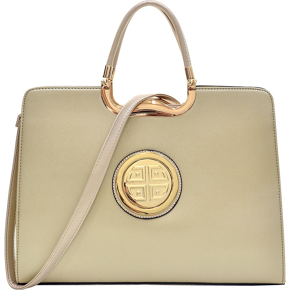 Dasein Rolled Handle Emblem Briefcase Satchel with Removable Shoulder Strap Gold - Dasein Manmade Handbags - Handbags, Manmade Handbags