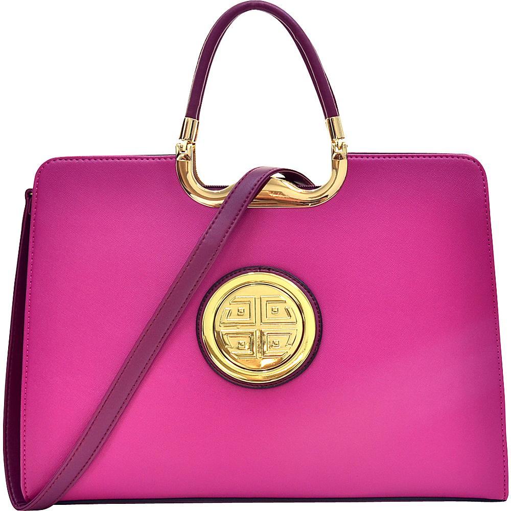 Dasein Rolled Handle Emblem Briefcase Satchel with Removable Shoulder Strap Purple - Dasein Manmade Handbags - Handbags, Manmade Handbags