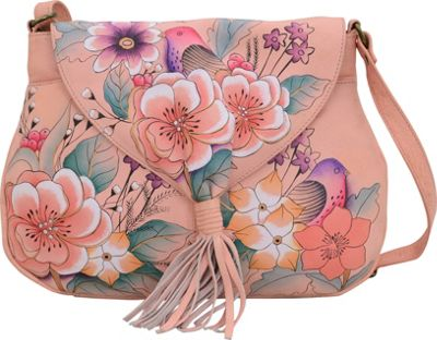 ANNA by Anuschka Hand Painted Flap Hobo Vintage Garden - ANNA by Anuschka Leather Handbags