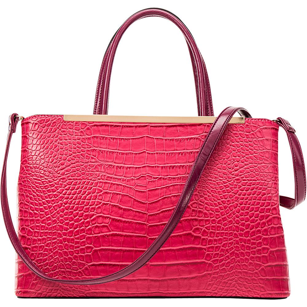 Dasein Frame Croc Textured Tote with Removable Shoulder Strap Fuchsia - Dasein Manmade Handbags - Handbags, Manmade Handbags