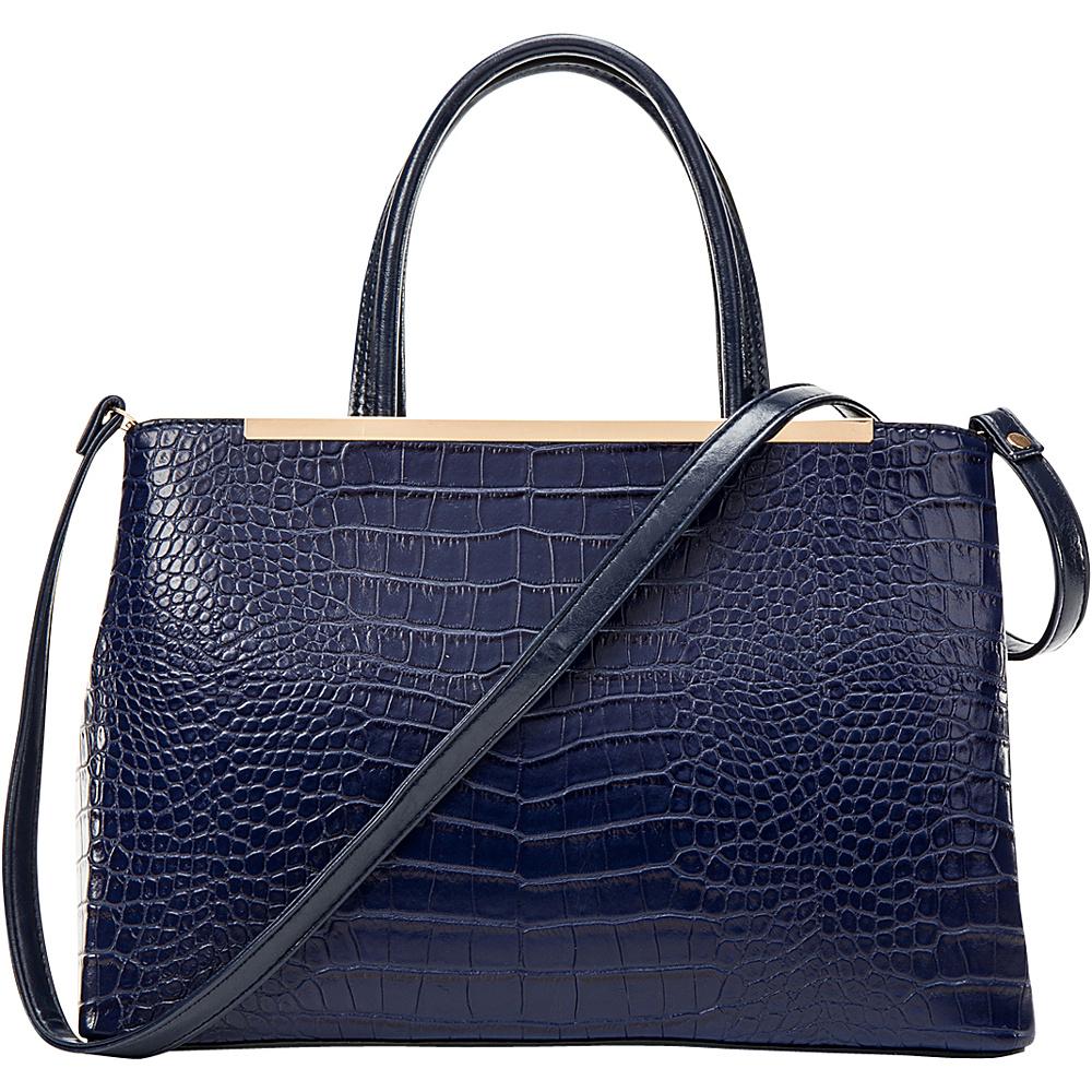 Dasein Frame Croc Textured Tote with Removable Shoulder Strap Blue - Dasein Manmade Handbags - Handbags, Manmade Handbags