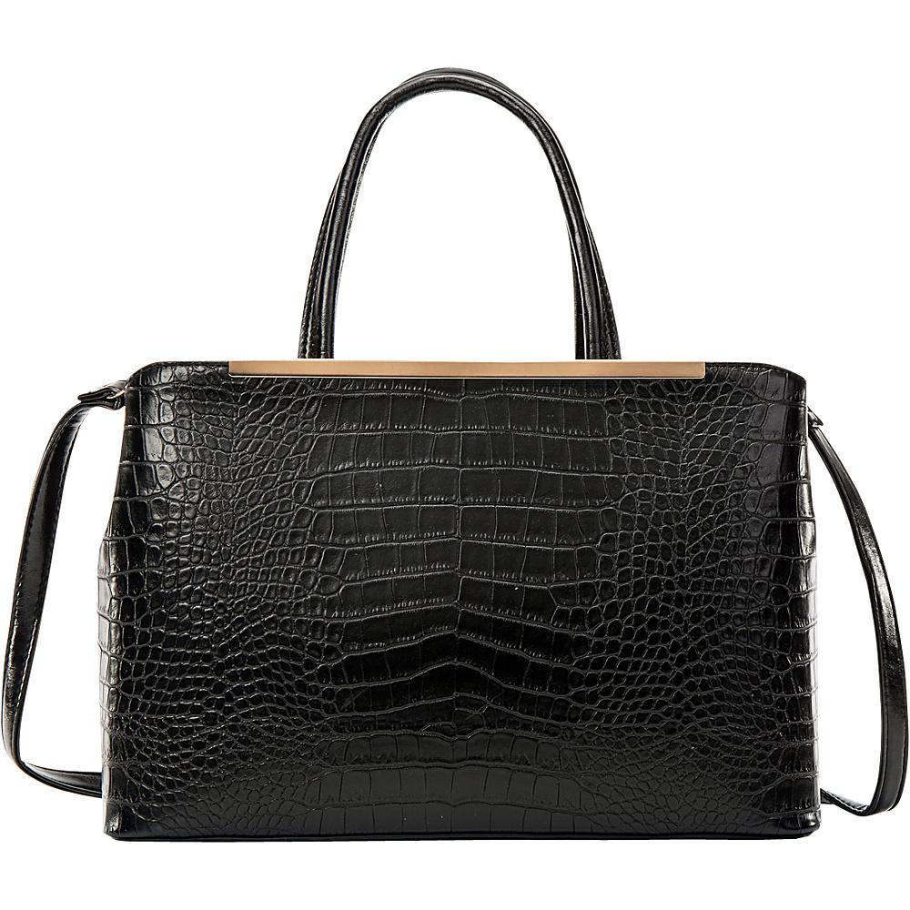 Dasein Frame Croc Textured Tote with Removable Shoulder Strap Black - Dasein Manmade Handbags - Handbags, Manmade Handbags