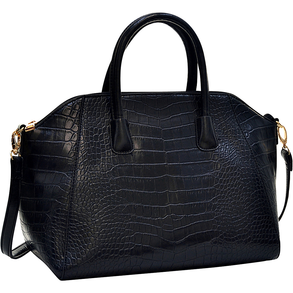 Dasein Faux Croc Weekender Satchel with Removable Shoulder Strap Black - Dasein Gym Bags - Sports, Gym Bags