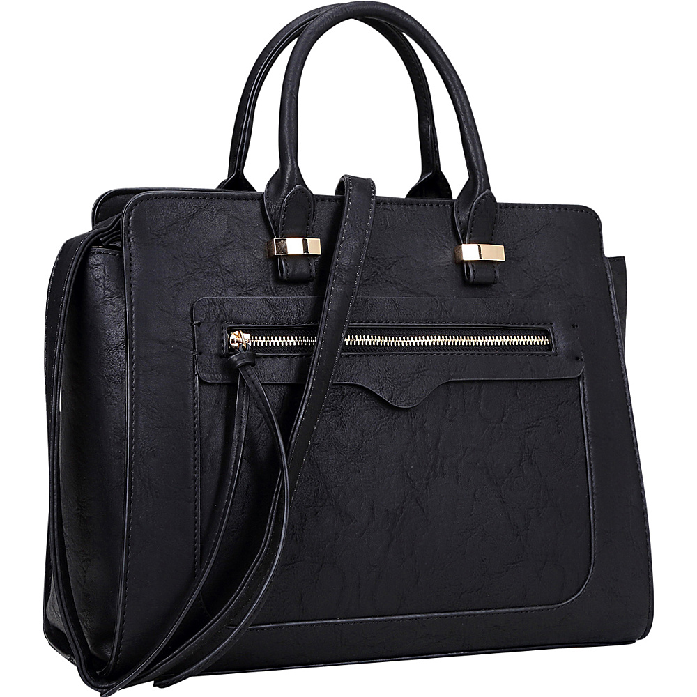 Dasein Faux Leather Satchel with Front Zipper Pocket Black - Dasein Manmade Handbags - Handbags, Manmade Handbags