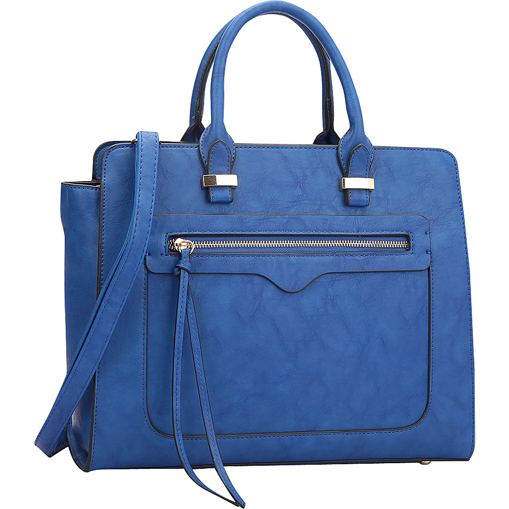 Dasein Faux Leather Satchel with Front Zipper Pocket Blue - Dasein Manmade Handbags - Handbags, Manmade Handbags