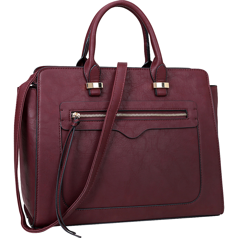 Dasein Faux Leather Satchel with Front Zipper Pocket Burgundy - Dasein Manmade Handbags - Handbags, Manmade Handbags