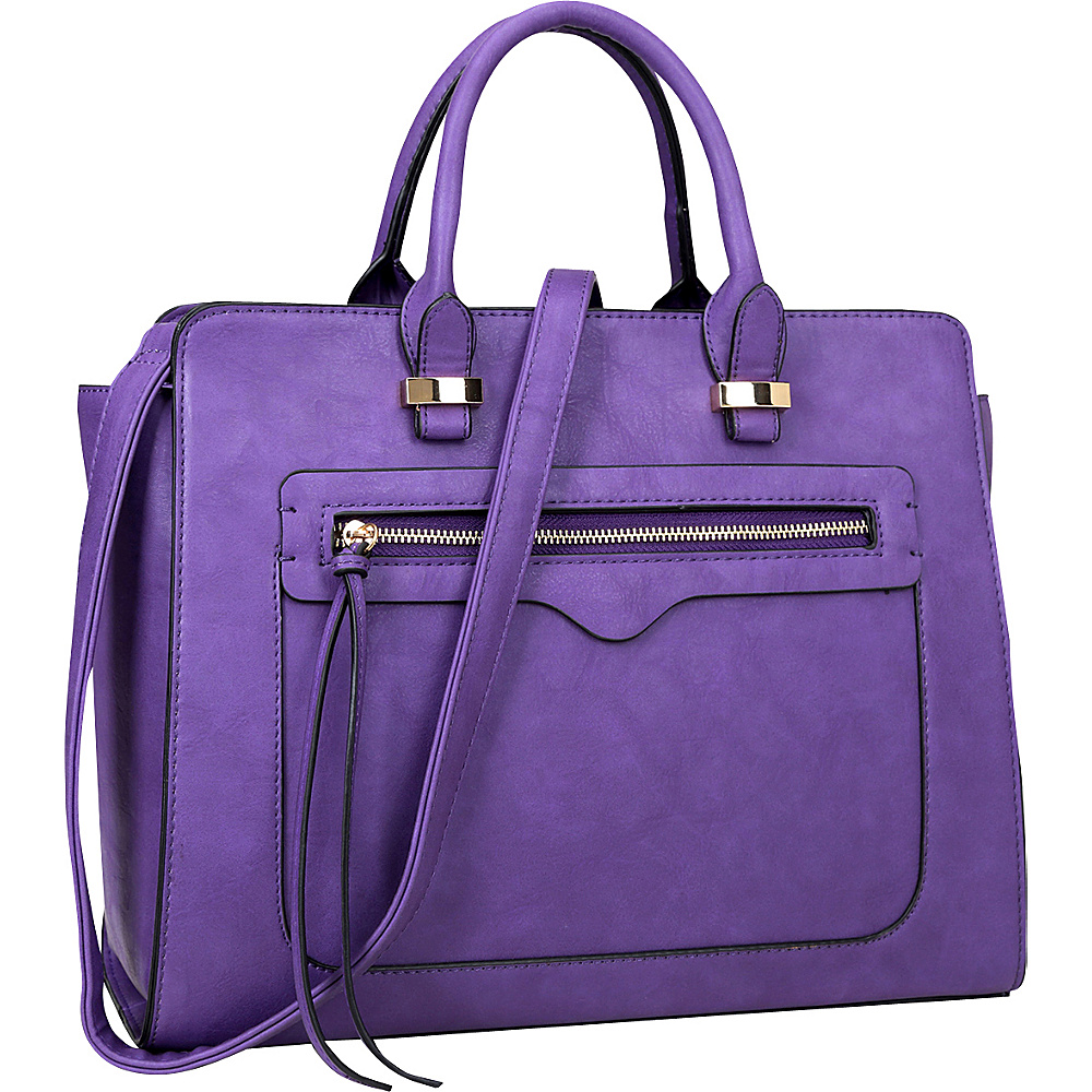 Dasein Faux Leather Satchel with Front Zipper Pocket Purple - Dasein Manmade Handbags - Handbags, Manmade Handbags