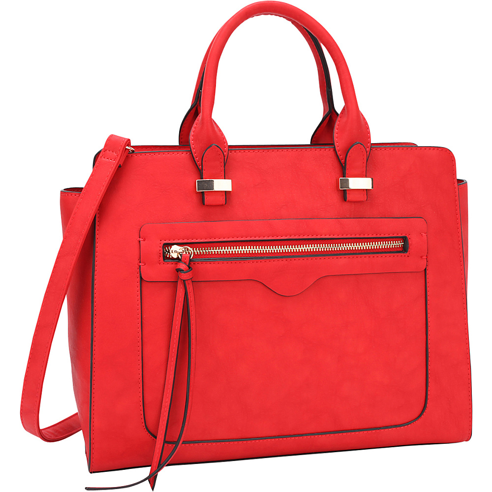 Dasein Faux Leather Satchel with Front Zipper Pocket Red - Dasein Manmade Handbags - Handbags, Manmade Handbags