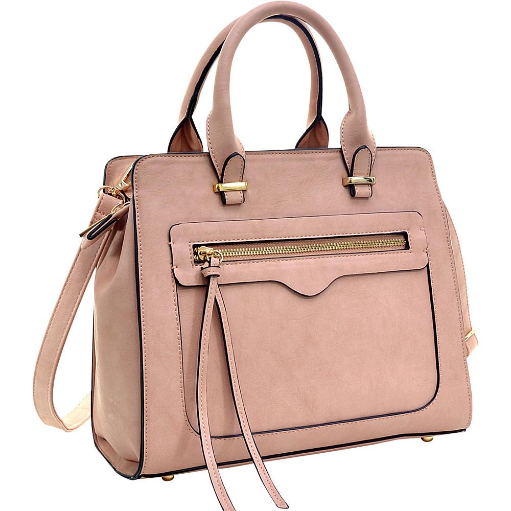 Dasein Faux Leather Satchel with Front Zipper Pocket Pink - Dasein Manmade Handbags - Handbags, Manmade Handbags