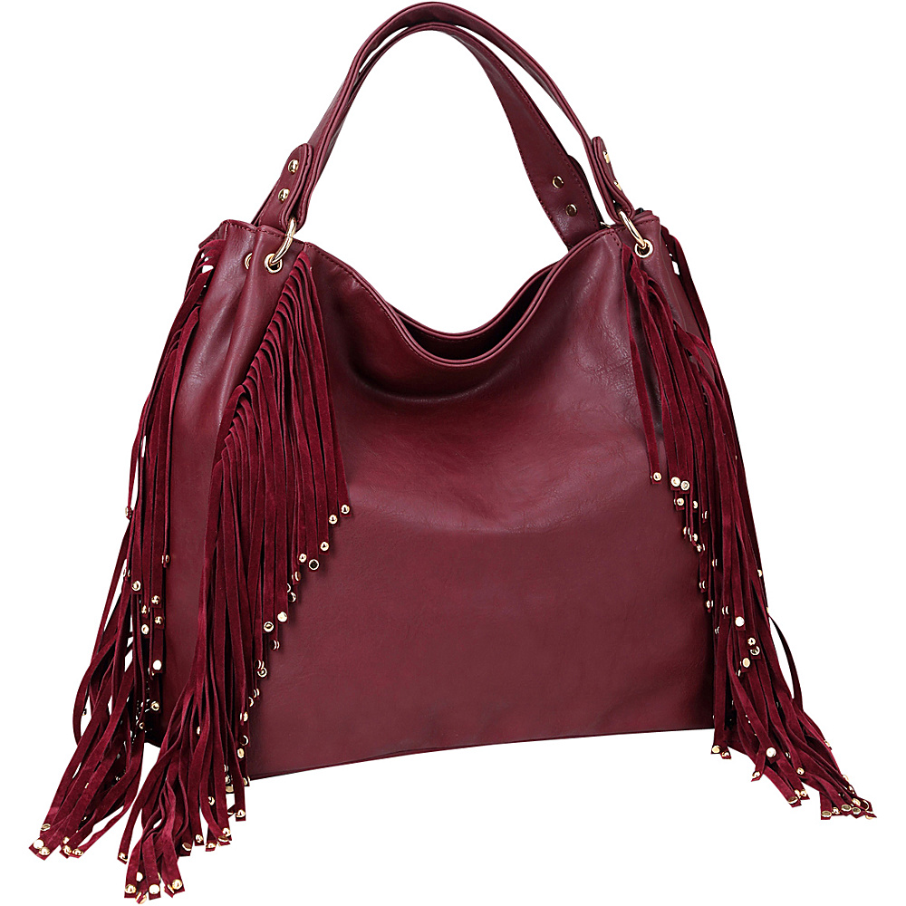 Dasein Fringe Studded Faux Leather Hobo Wine - Dasein Manmade Handbags - Handbags, Manmade Handbags