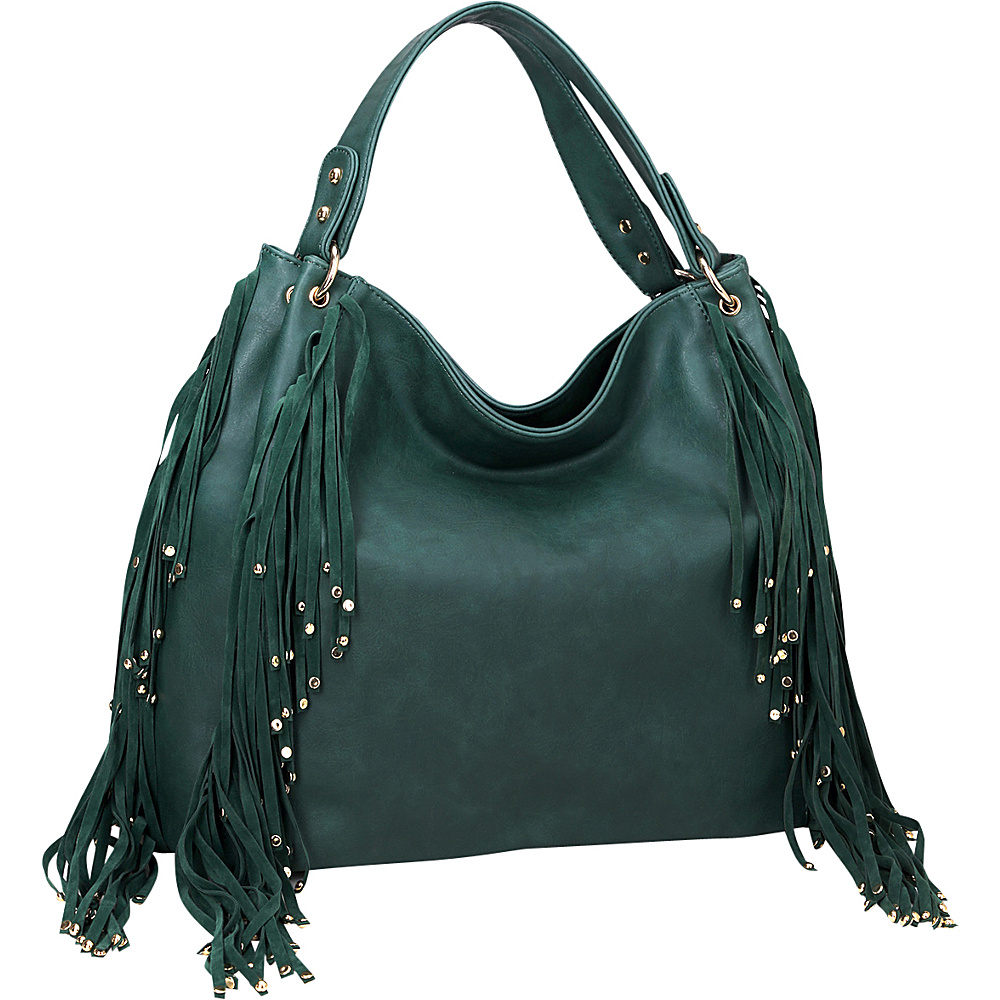 Dasein Fringe Studded Faux Leather Hobo Deep Green - Dasein Manmade Handbags - Handbags, Manmade Handbags