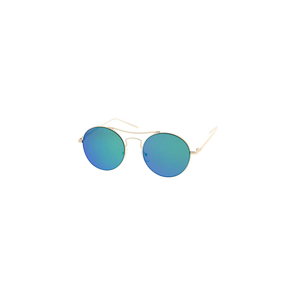 SW Global Womens Simple Fashion Wired Round Double Bar Flash Lens Sunglasses Blue Green - SW Global Eyewear - Fashion Accessories, Eyewear