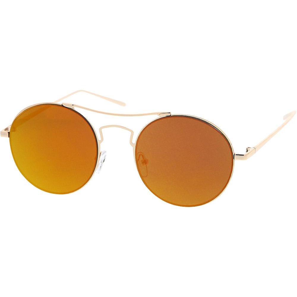 SW Global Womens Simple Fashion Wired Round Double Bar Flash Lens Sunglasses Orange - SW Global Eyewear - Fashion Accessories, Eyewear