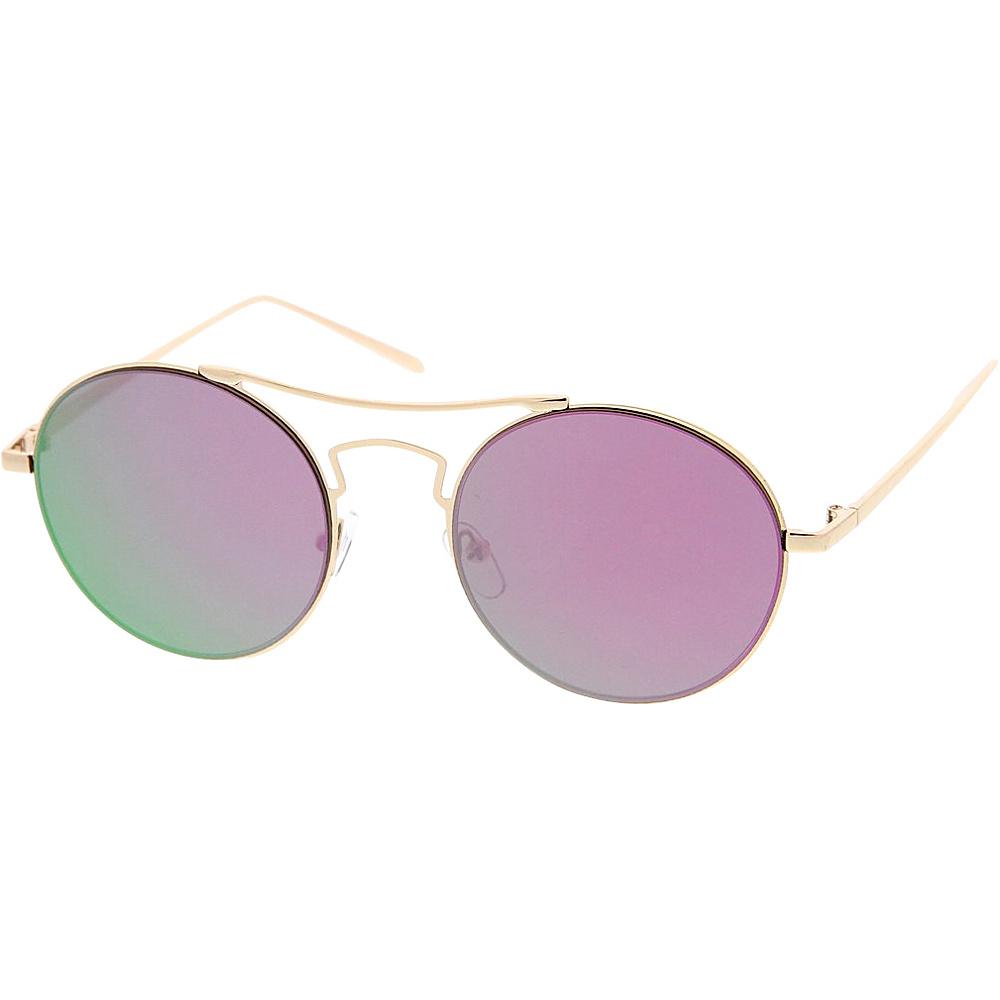 SW Global Womens Simple Fashion Wired Round Double Bar Flash Lens Sunglasses Purple - SW Global Eyewear - Fashion Accessories, Eyewear