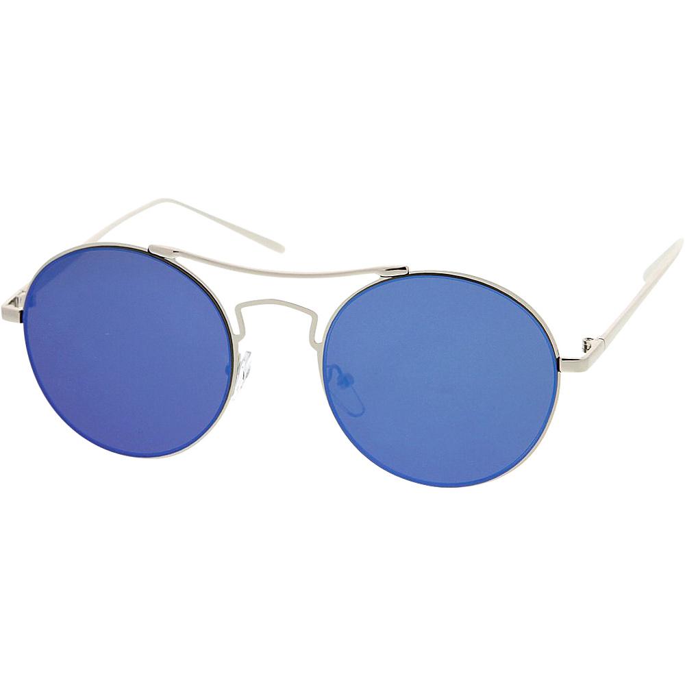 SW Global Womens Simple Fashion Wired Round Double Bar Flash Lens Sunglasses Blue - SW Global Eyewear - Fashion Accessories, Eyewear