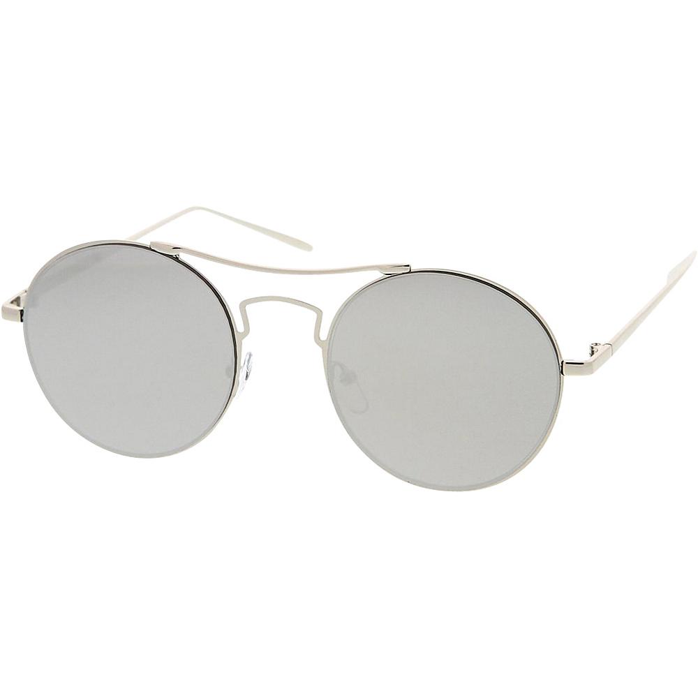 SW Global Womens Simple Fashion Wired Round Double Bar Flash Lens Sunglasses Silver - SW Global Eyewear - Fashion Accessories, Eyewear