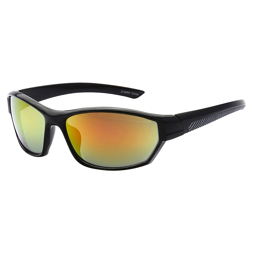 SW Global Full Framed Outdoors Sports UV400 Sunglasses Black Black Yellow Orange - SW Global Eyewear - Fashion Accessories, Eyewear