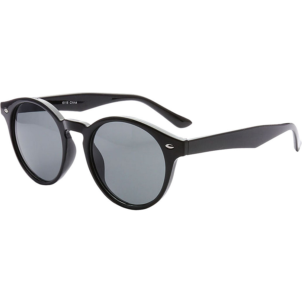 SW Global Retro Urban Fashion Horn Rimmed Round Frame Sunglasses Black - SW Global Eyewear - Fashion Accessories, Eyewear