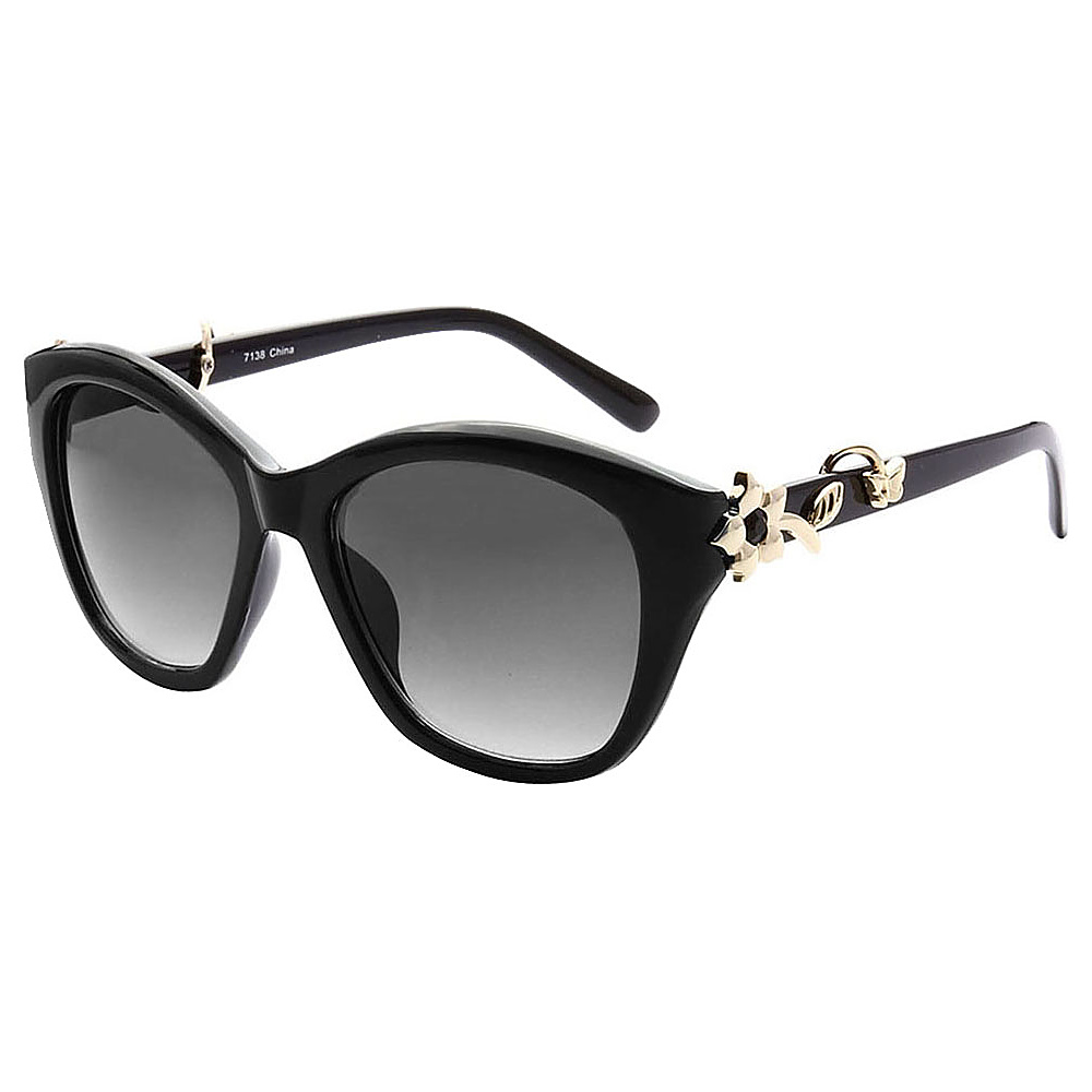 SW Global Cute Flower Emblem Adorned UV400 Sunglasses Black Gold Gradient - SW Global Eyewear - Fashion Accessories, Eyewear