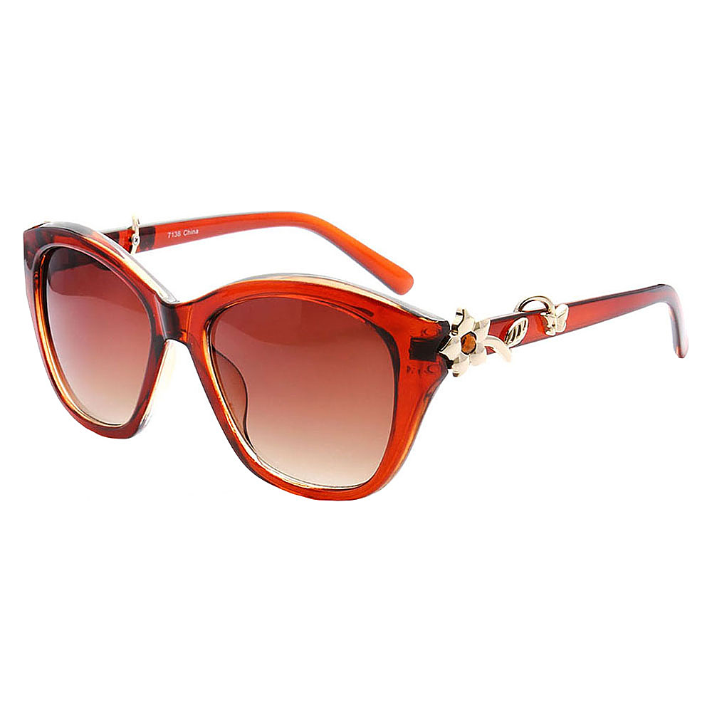 SW Global Cute Flower Emblem Adorned UV400 Sunglasses Brown Amber - SW Global Eyewear - Fashion Accessories, Eyewear