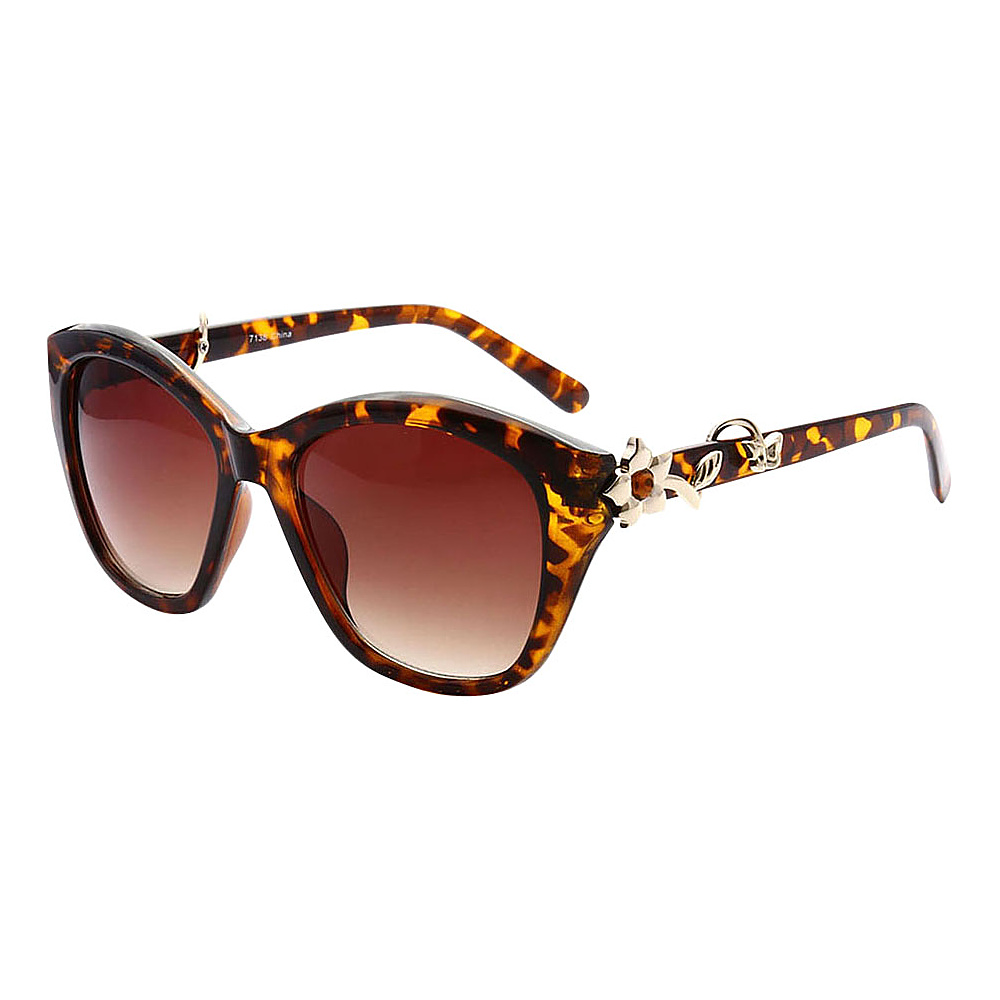 SW Global Cute Flower Emblem Adorned UV400 Sunglasses Leopard Gold - SW Global Eyewear - Fashion Accessories, Eyewear