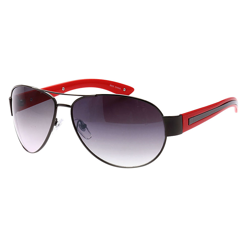SW Global Full Metal Frame Sporty Aviator UV400 Sunglasses Black Red Gradient - SW Global Eyewear - Fashion Accessories, Eyewear