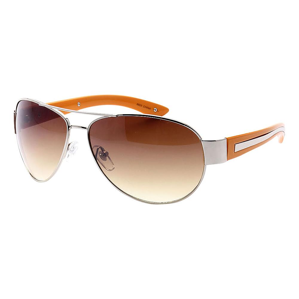 SW Global Full Metal Frame Sporty Aviator UV400 Sunglasses Silver Orange Amber - SW Global Eyewear - Fashion Accessories, Eyewear
