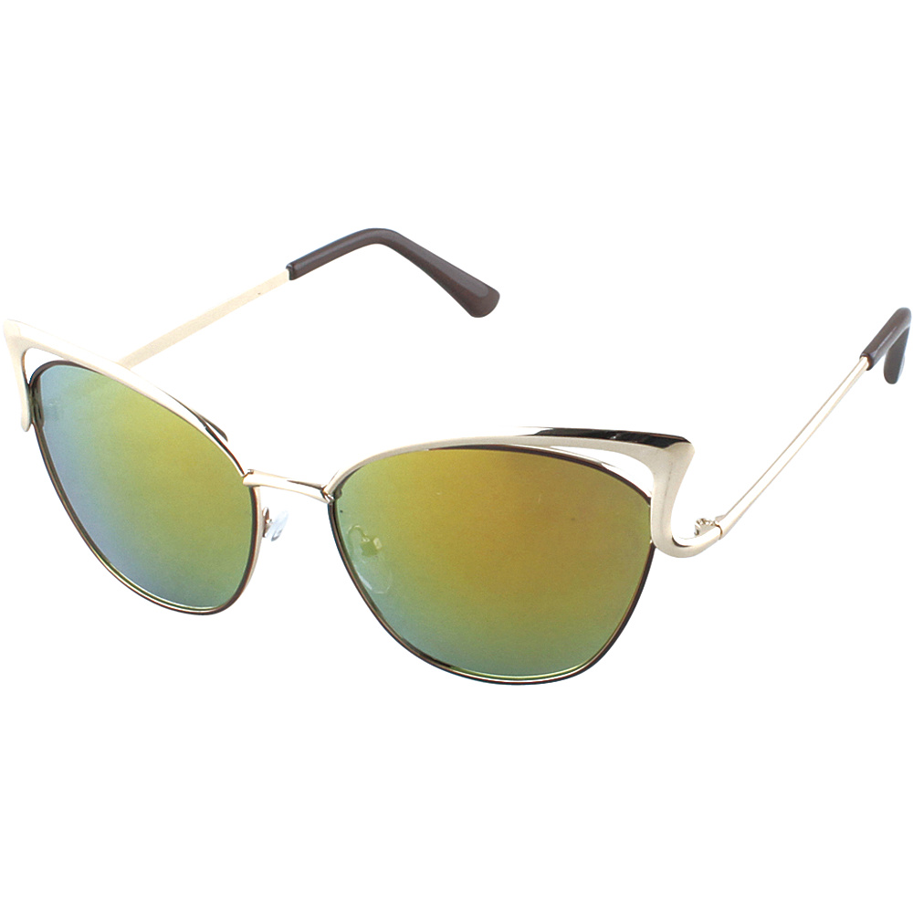 SW Global Womens Urban Street Fashion Metal Frame High Tip Cat Eye Sunglasses Gold - SW Global Eyewear - Fashion Accessories, Eyewear