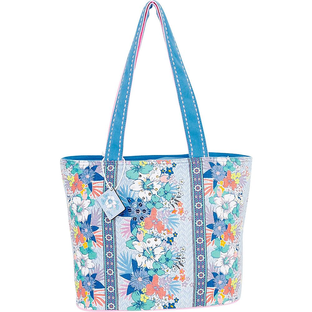 Sun N Sand Tropical Stripes Medium Tote Blue Multi - Sun N Sand Fabric Handbags - Handbags, Fabric Handbags