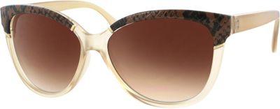 Kay Unger Modified Cateye Sunglasses Matte Tan/Gradient Brown Lens - Kay Unger Eyewear