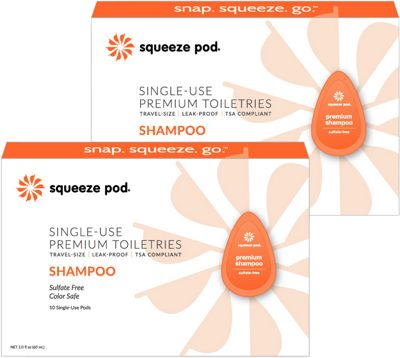 Squeeze Pod Single Use Natural Shampoo - 20 Single Use Pods Orange - Squeeze Pod Travel Comfort and Health