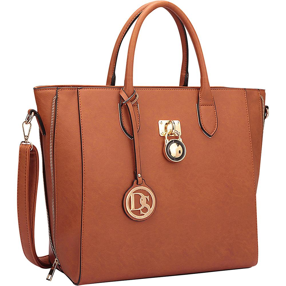 Dasein Zipper Sides Medium Tote Brown - Dasein Manmade Handbags - Handbags, Manmade Handbags