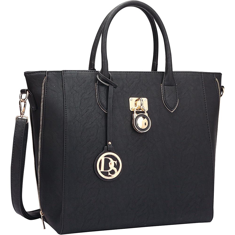 Dasein Zipper Sides Medium Tote Black - Dasein Manmade Handbags - Handbags, Manmade Handbags