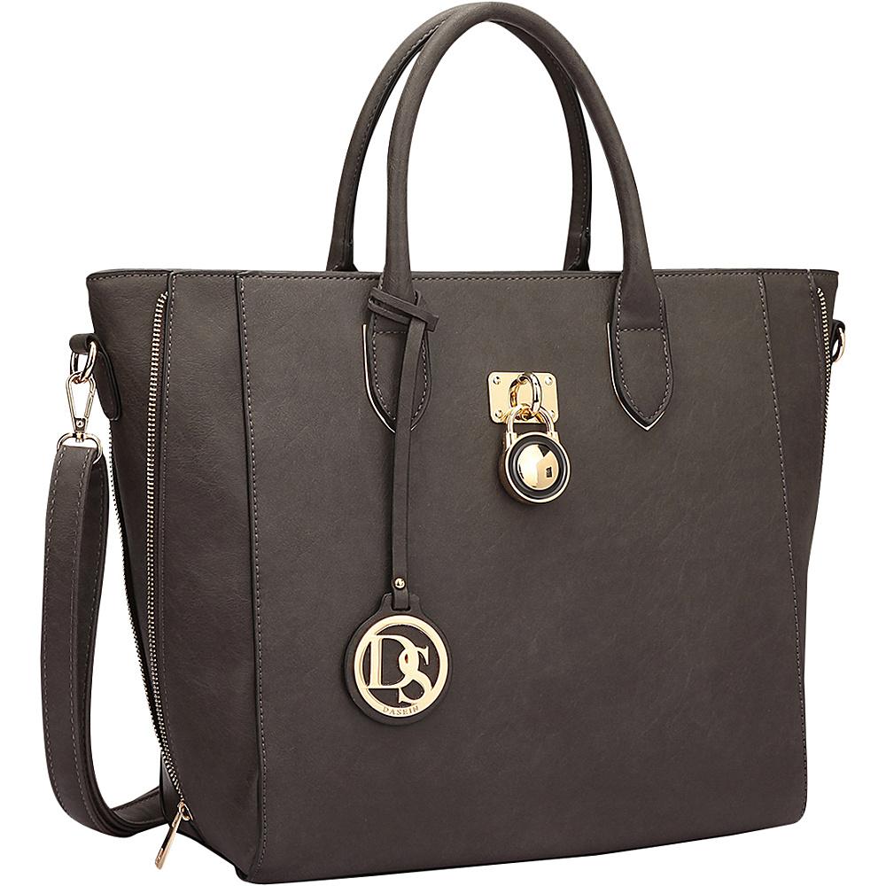 Dasein Zipper Sides Medium Tote Dark Grey - Dasein Manmade Handbags - Handbags, Manmade Handbags