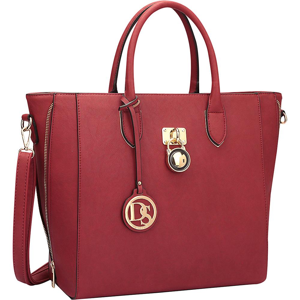 Dasein Zipper Sides Medium Tote Red - Dasein Manmade Handbags - Handbags, Manmade Handbags