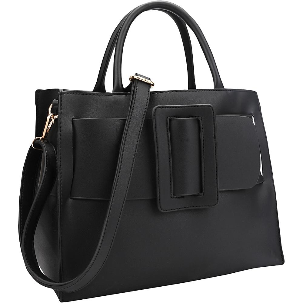 Dasein Decorative Large Buckle Medium Satchel Black - Dasein Manmade Handbags - Handbags, Manmade Handbags