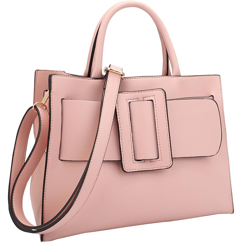 Dasein Decorative Large Buckle Medium Satchel Pink - Dasein Manmade Handbags - Handbags, Manmade Handbags