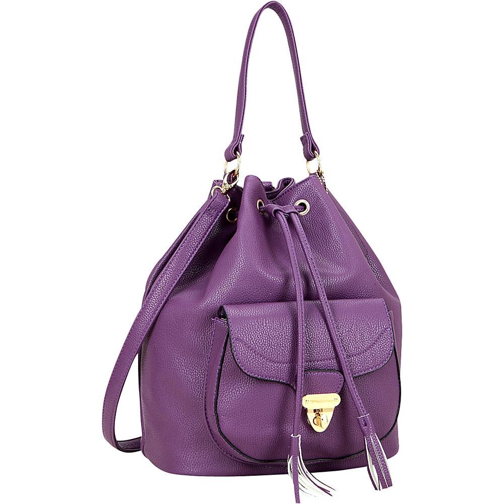 Dasein Front Pocket Convertible Drawstring Bag Purple - Dasein Manmade Handbags - Handbags, Manmade Handbags