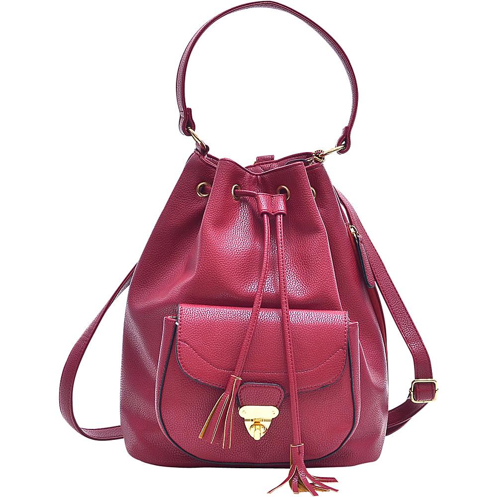 Dasein Front Pocket Convertible Drawstring Bag Burgundy - Dasein Manmade Handbags - Handbags, Manmade Handbags