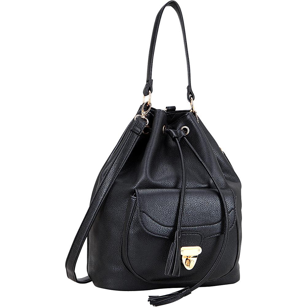 Dasein Front Pocket Convertible Drawstring Bag Black - Dasein Manmade Handbags - Handbags, Manmade Handbags