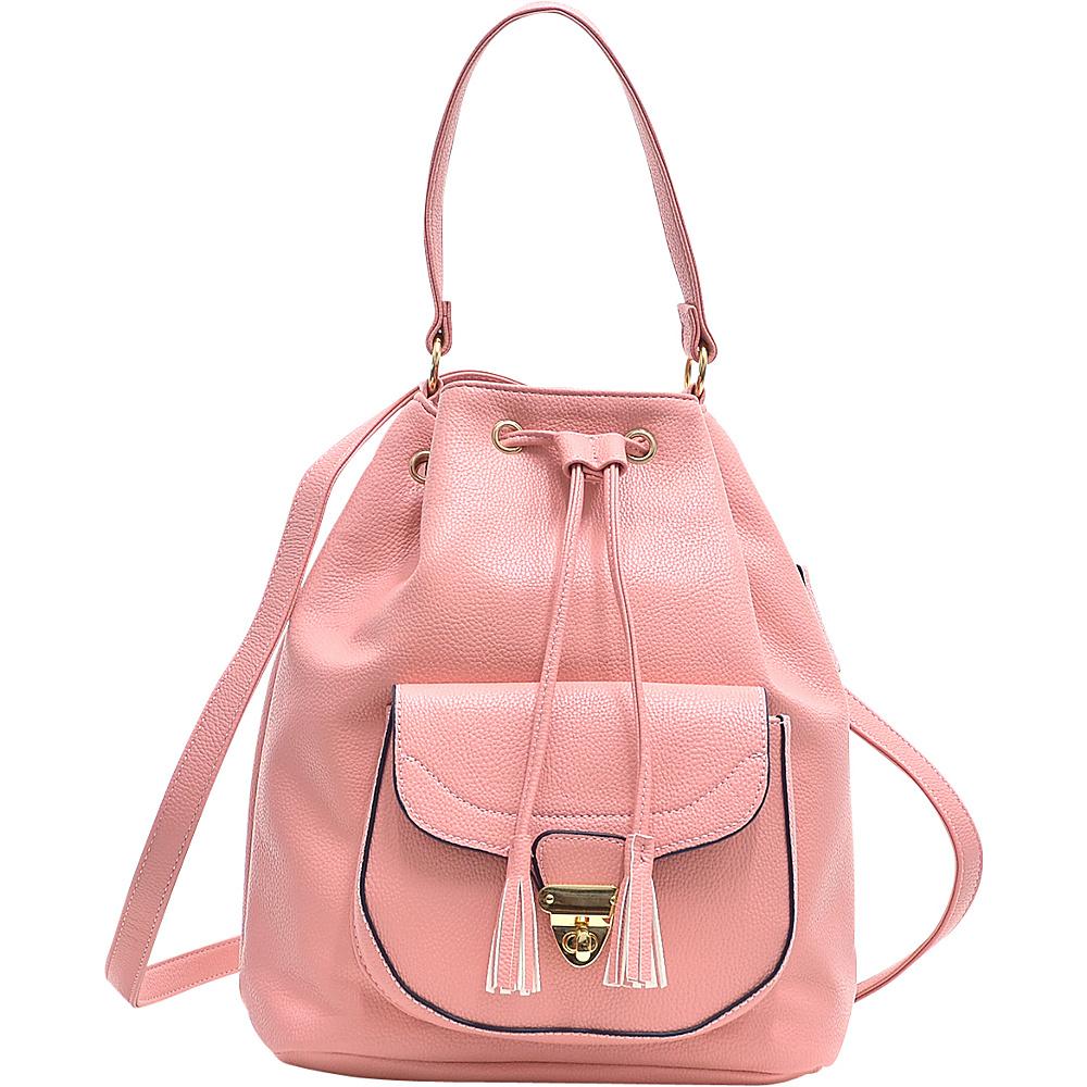 Dasein Front Pocket Convertible Drawstring Bag Pink - Dasein Manmade Handbags - Handbags, Manmade Handbags