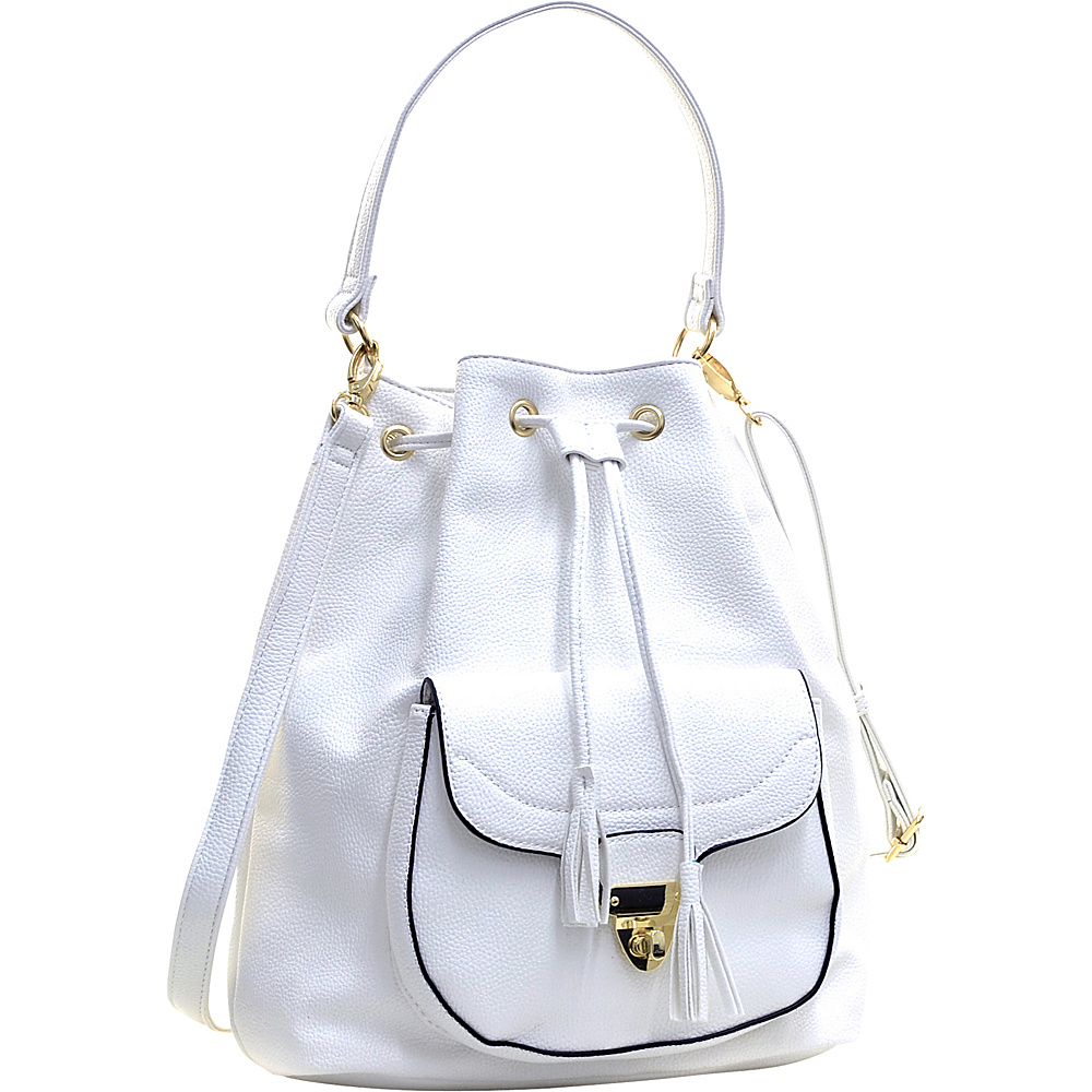 Dasein Front Pocket Convertible Drawstring Bag White - Dasein Manmade Handbags - Handbags, Manmade Handbags