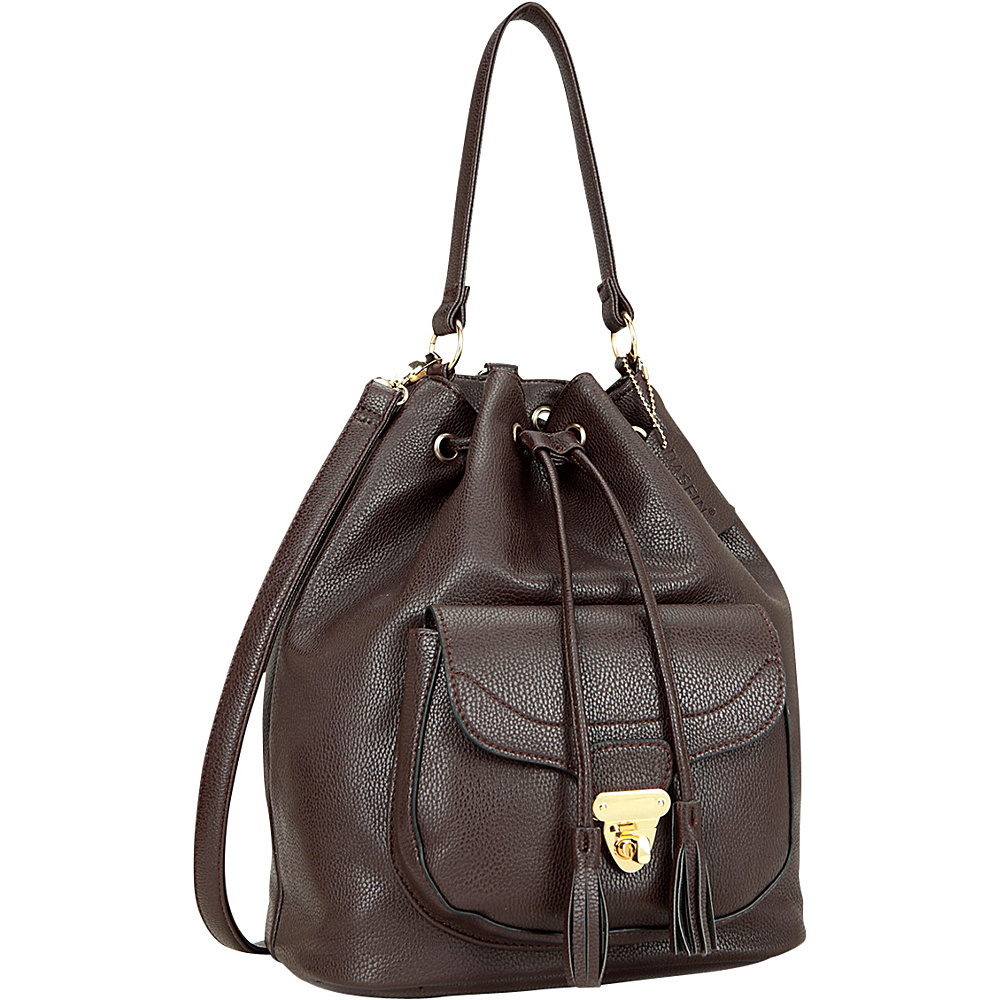 Dasein Front Pocket Convertible Drawstring Bag Coffee - Dasein Manmade Handbags - Handbags, Manmade Handbags